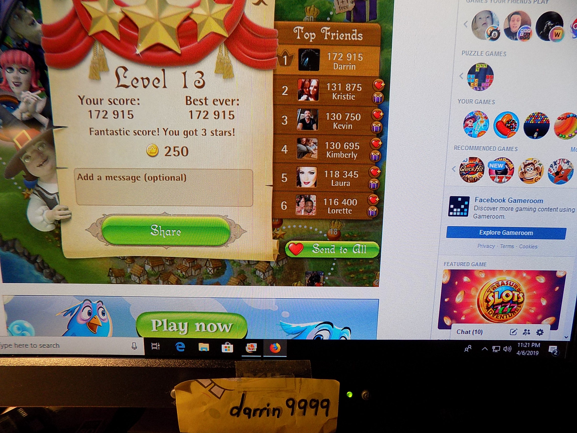 darrin9999: Bubble Witch Saga: Level 13 (Web) 172,915 points on 2019-04-06 22:37:27