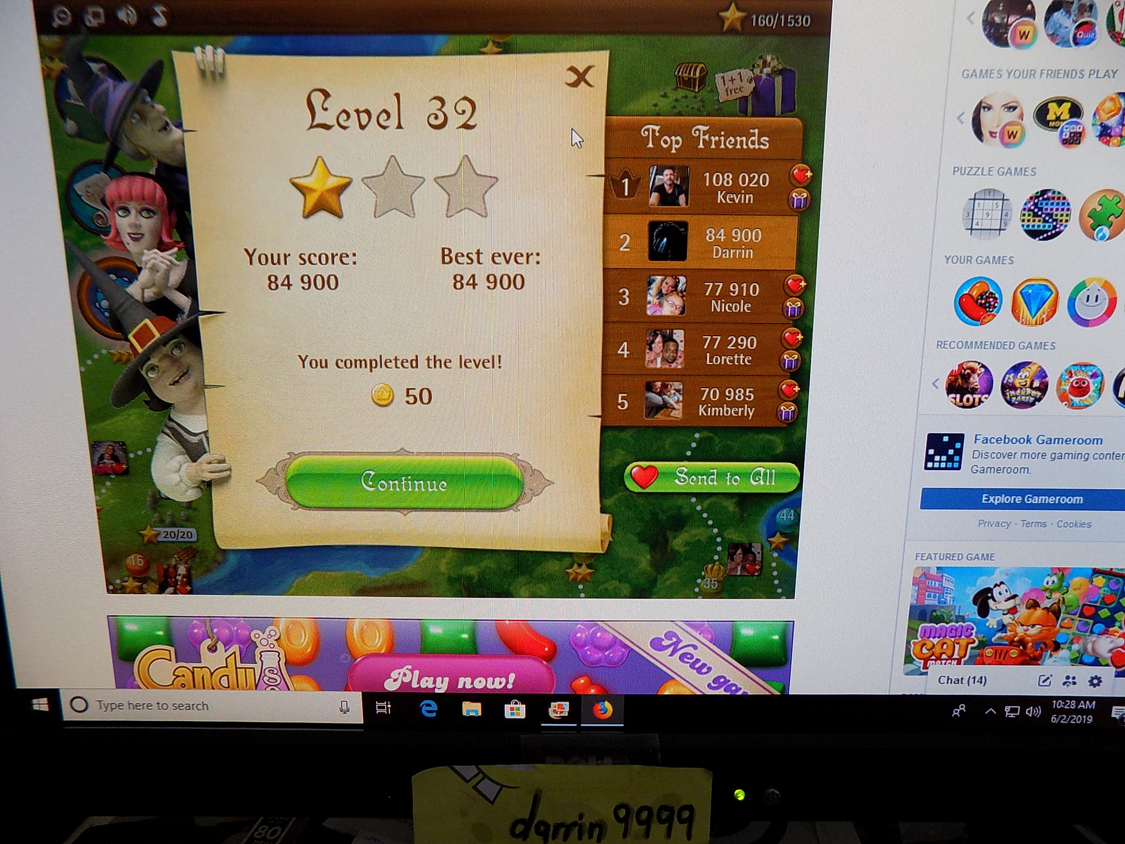 darrin9999: Bubble Witch Saga: Level 32 (Web) 84,900 points on 2019-06-02 09:40:25