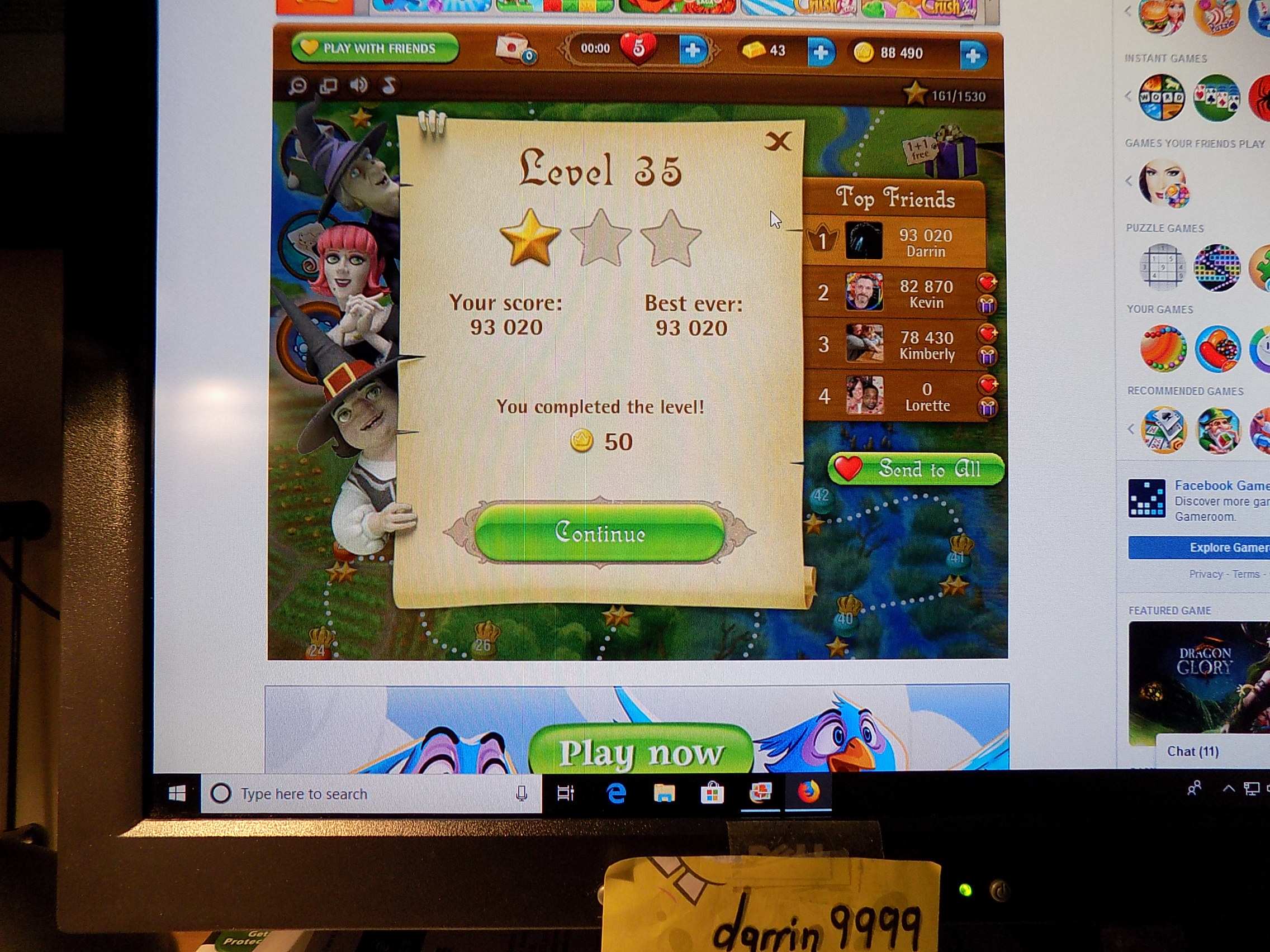 darrin9999: Bubble Witch Saga: Level 35 (Web) 93,020 points on 2019-06-20 14:36:52