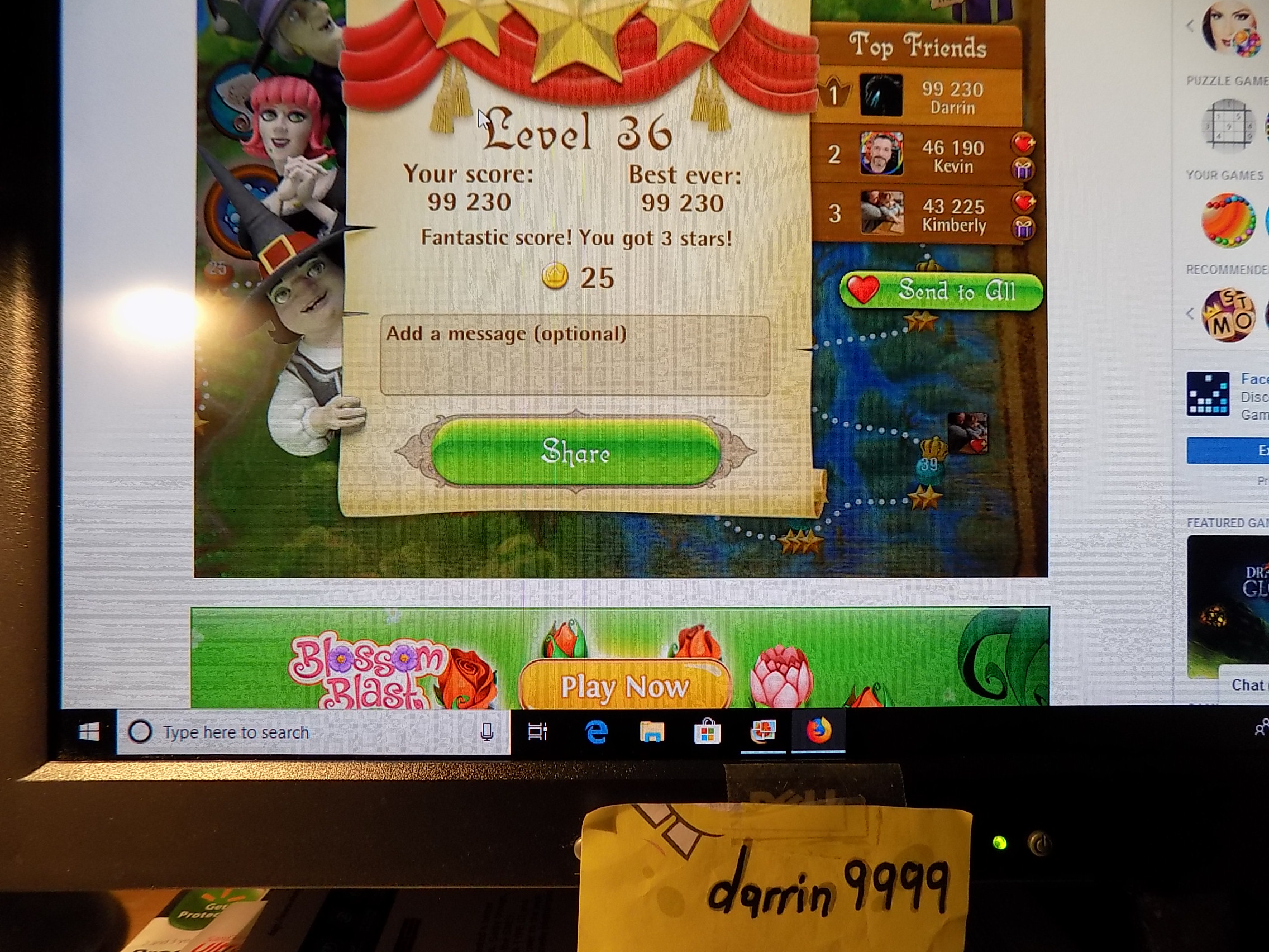 darrin9999: Bubble Witch Saga: Level 36 (Web) 99,230 points on 2019-06-20 14:37:42
