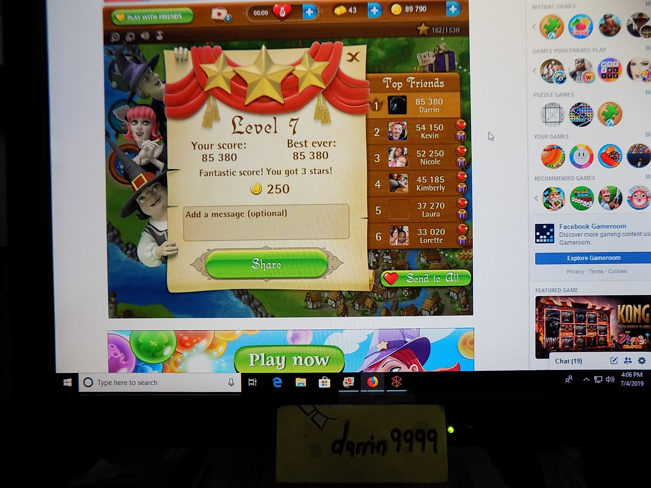 darrin9999: Bubble Witch Saga: Level 7 (Web) 85,380 points on 2019-07-04 15:07:27