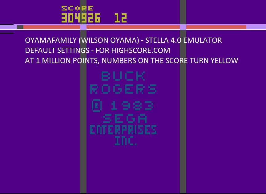 oyamafamily: Buck Rogers: Planet of Zoom (Atari 2600 Emulated Novice/B Mode) 1,304,926 points on 2015-09-25 19:08:27