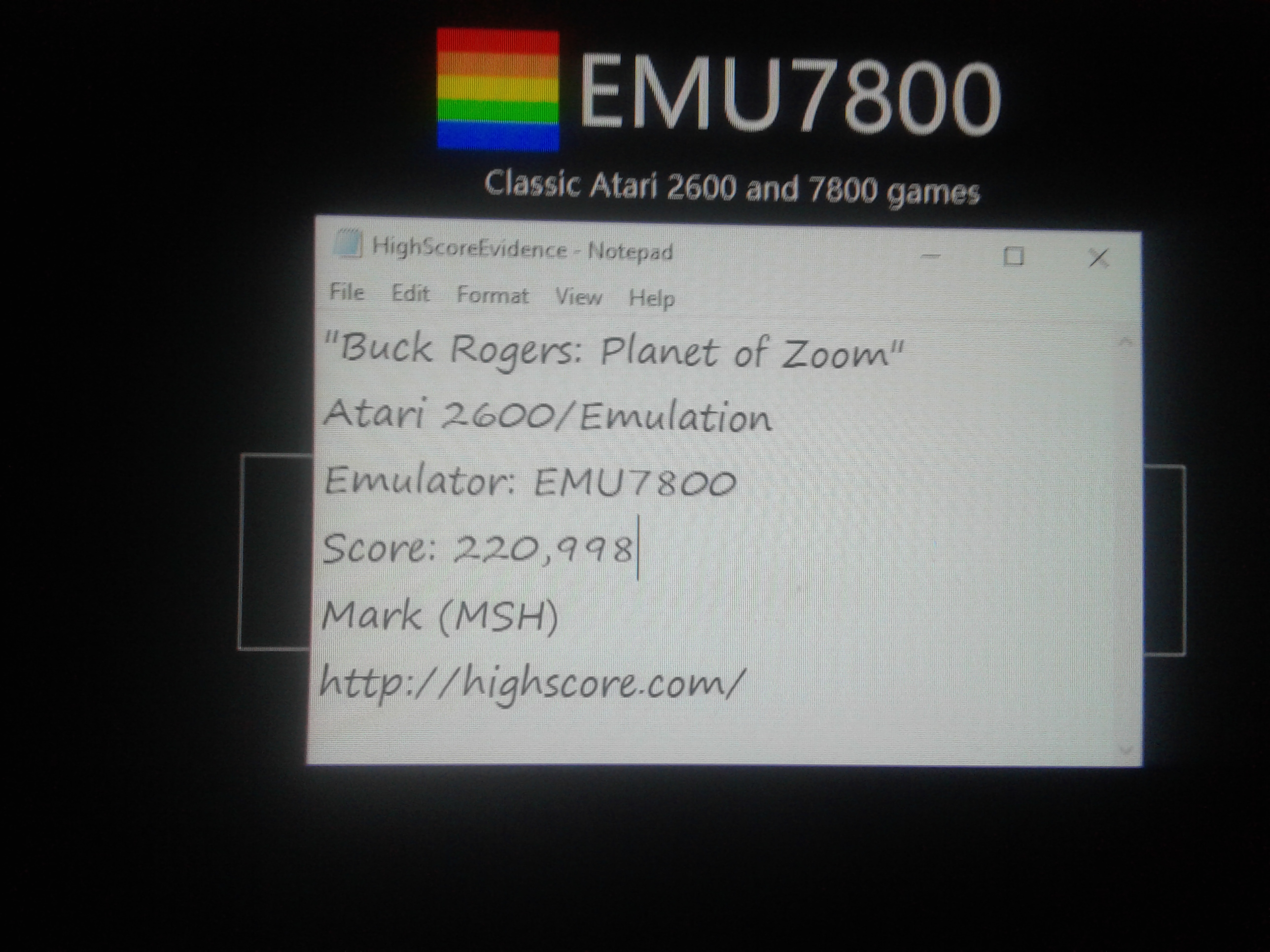 Mark: Buck Rogers: Planet of Zoom (Atari 2600 Emulated Novice/B Mode) 220,998 points on 2019-01-15 01:20:02