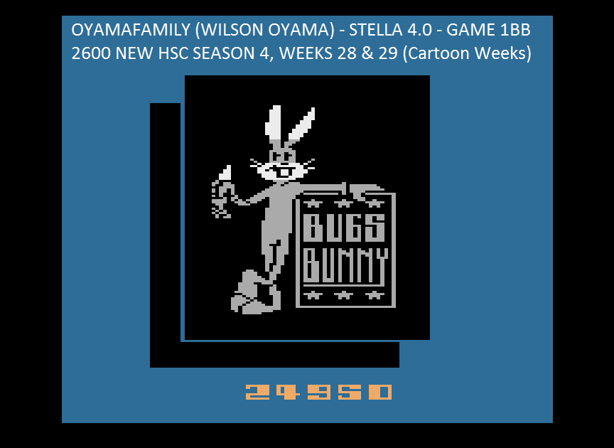 oyamafamily: Bugs Bunny (Atari 2600 Emulated Novice/B Mode) 24,950 points on 2015-08-13 17:11:02