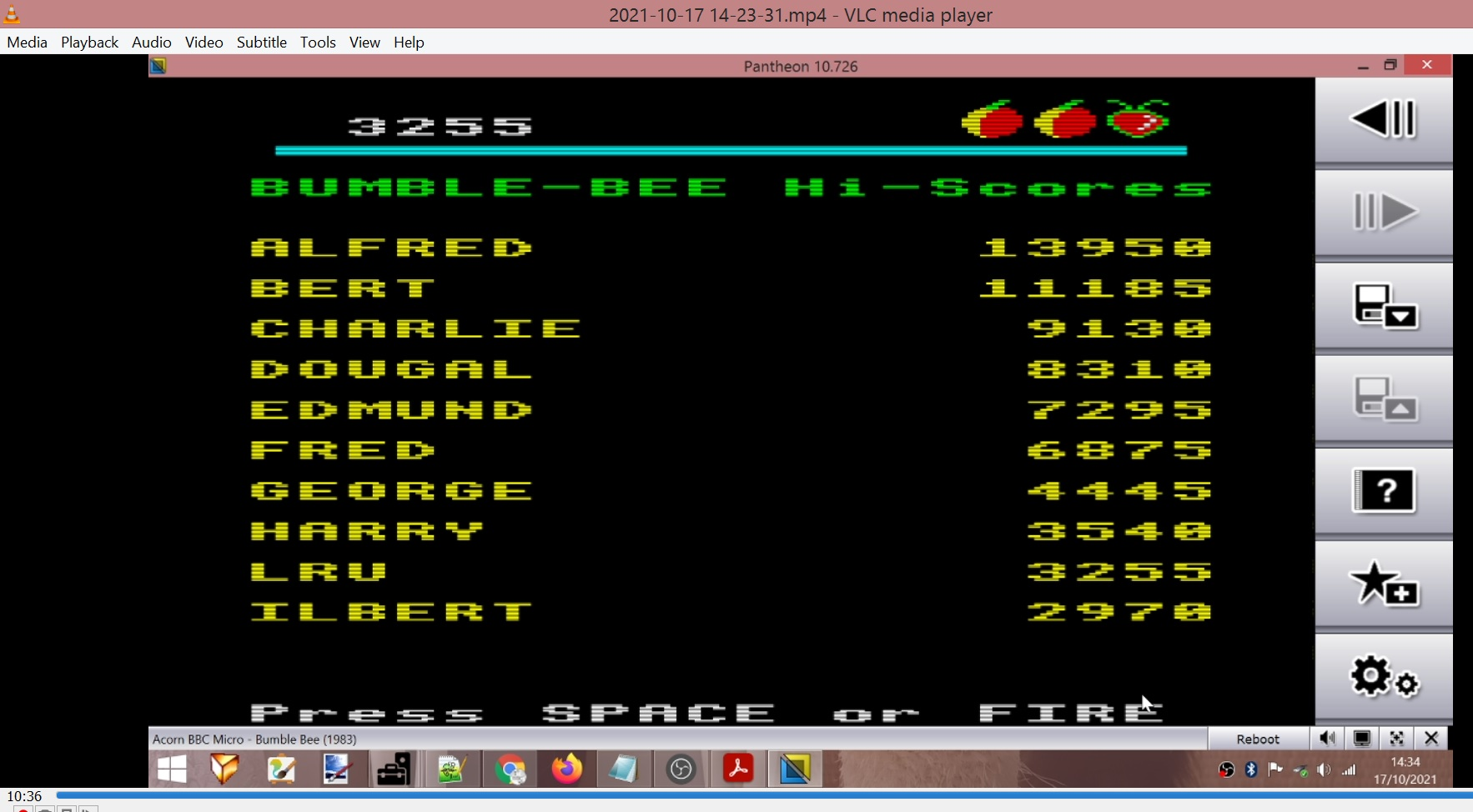 LuigiRuffolo: Bumble Bee (BBC Micro Emulated) 3,255 points on 2021-10-17 07:16:41