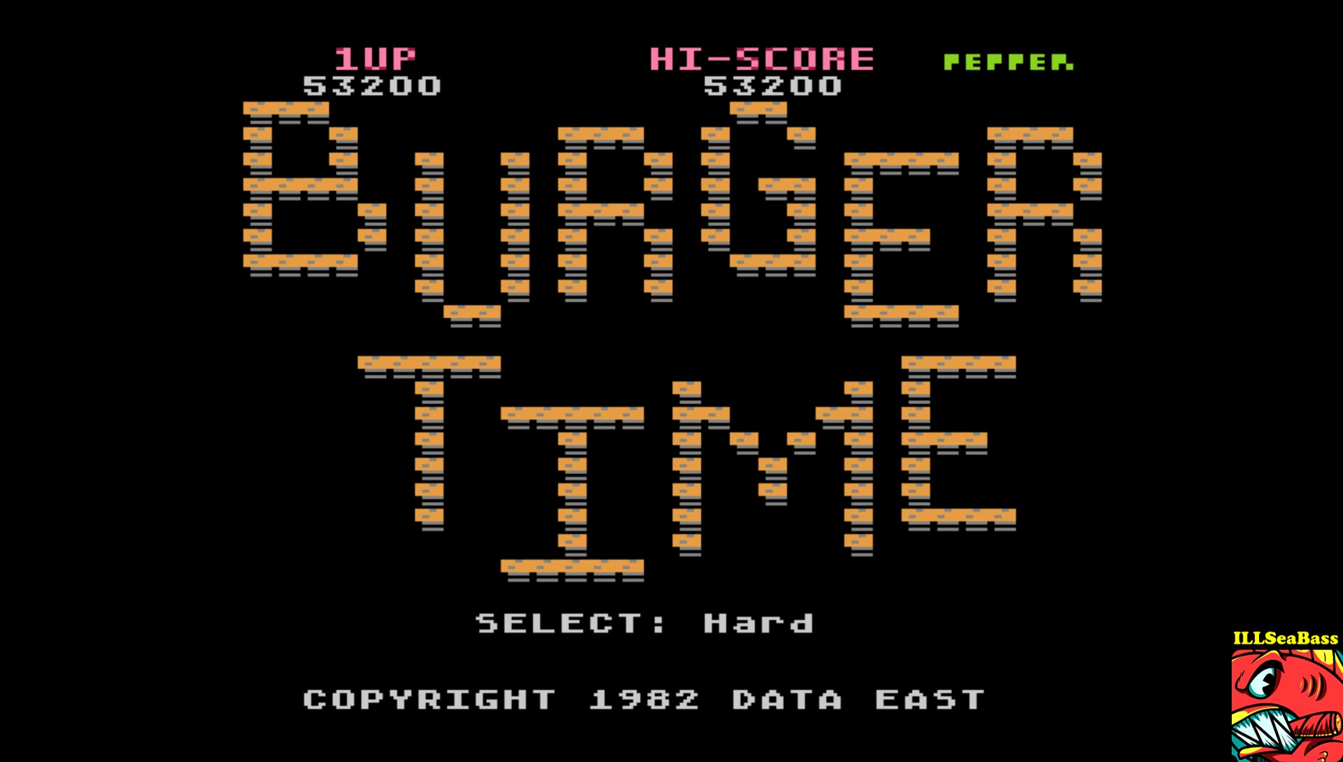 ILLSeaBass: Burger Time (5200) [Hard] (Atari 400/800/XL/XE Emulated) 53,200 points on 2017-06-05 00:46:44