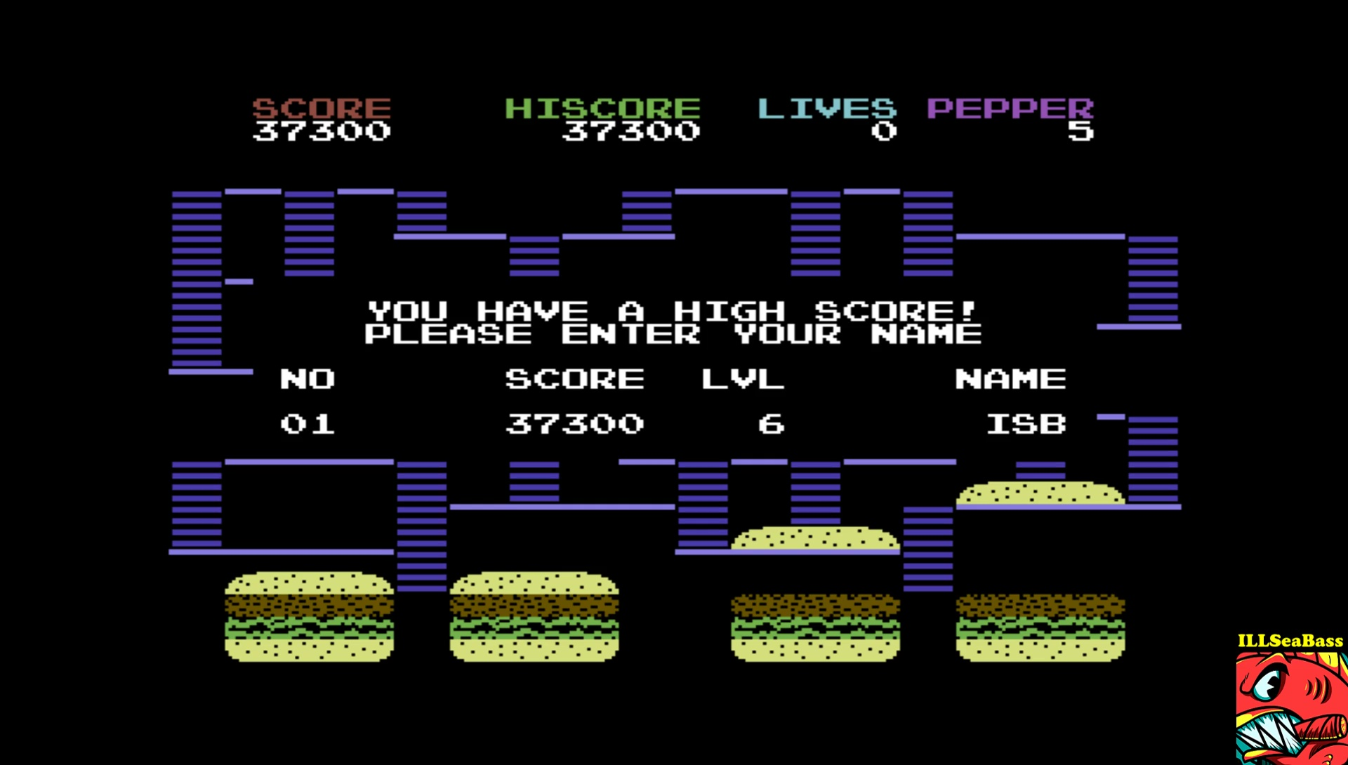 ILLSeaBass: Burger Time 97 (Commodore 64 Emulated) 37,300 points on 2017-06-02 23:18:06