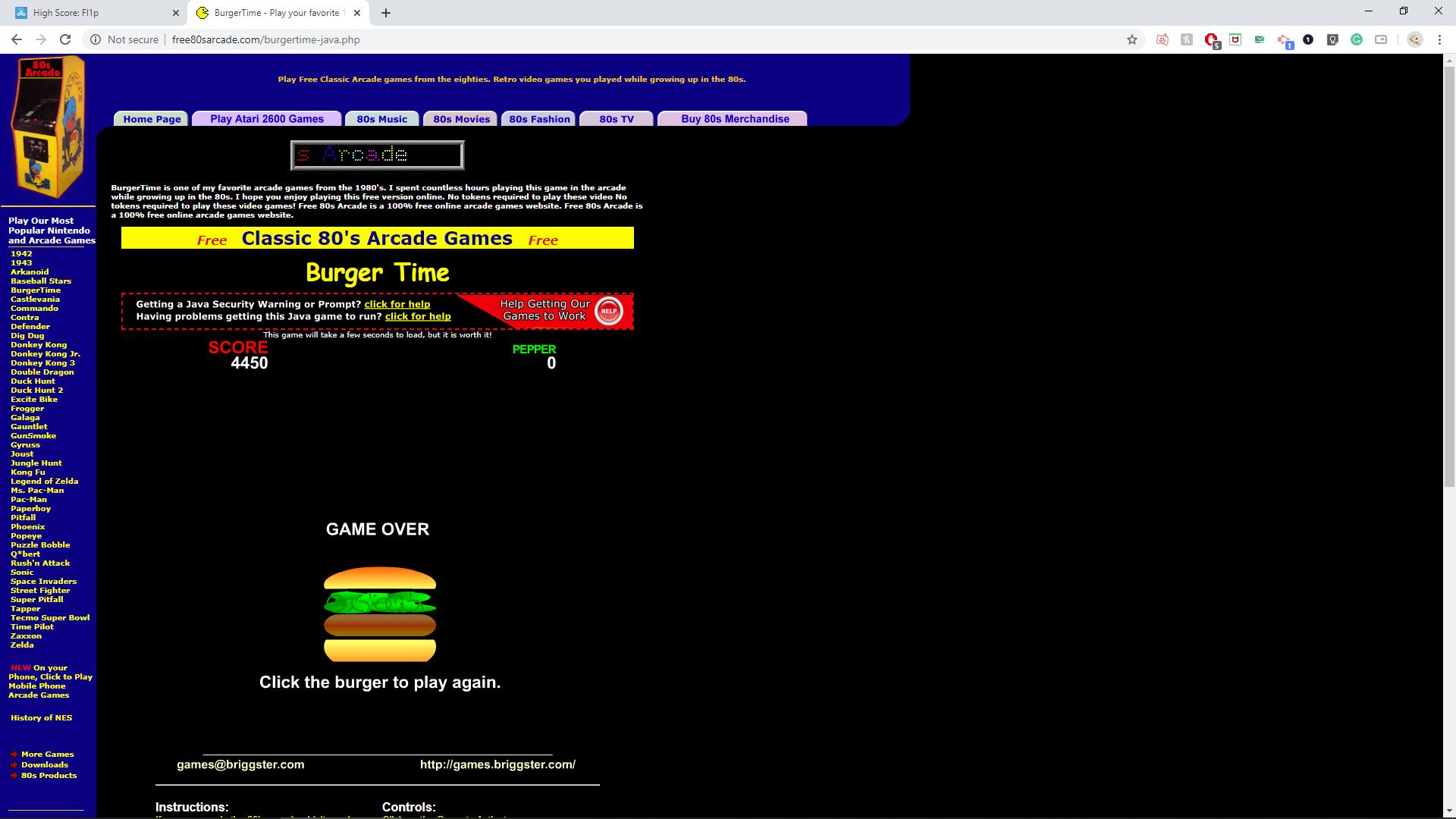 Fl1p: Burger Time (Web) 4,450 points on 2020-04-21 16:18:56