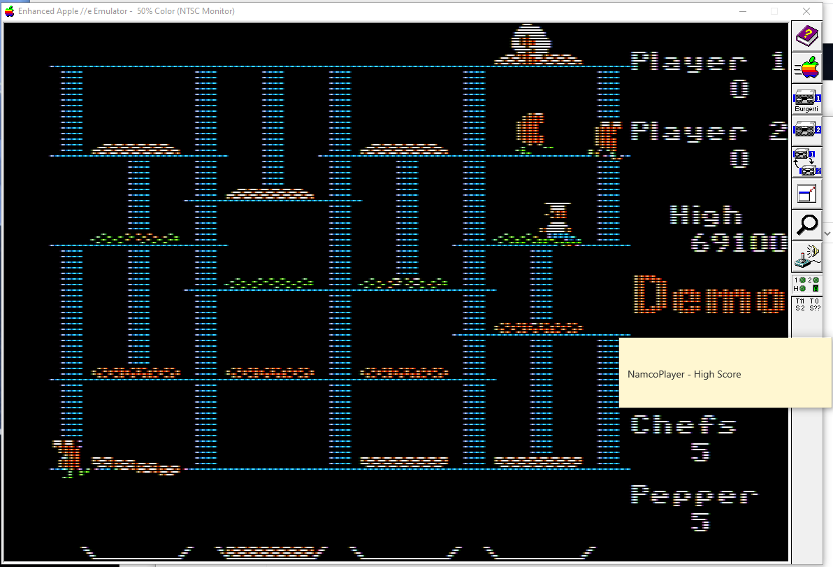 NamcoPlayer: BurgerTime (Apple II Emulated) 69,100 points on 2020-11-01 12:20:19