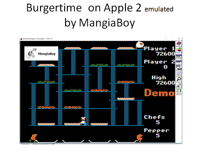MangiaBoy: BurgerTime (Apple II Emulated) 72,600 points on 2017-05-13 07:30:09