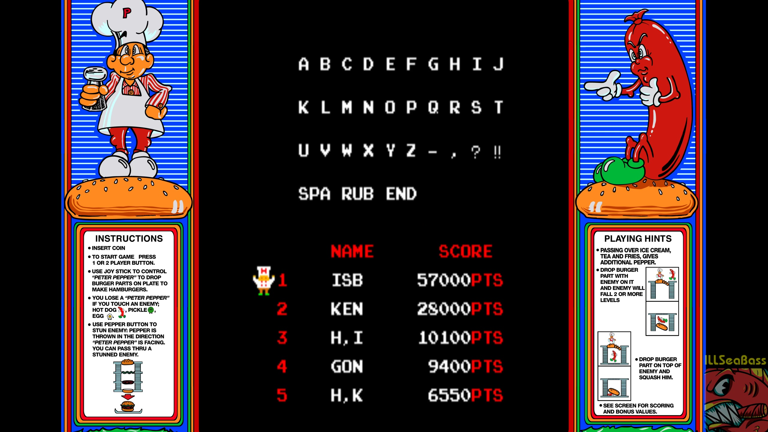 ILLSeaBass: BurgerTime (Arcade Emulated / M.A.M.E.) 57,000 points on 2018-06-03 08:38:00