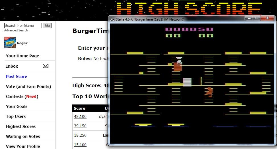 Nognir: BurgerTime (Atari 2600 Emulated) 8,050 points on 2016-02-16 14:16:04