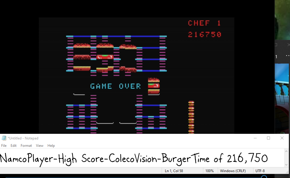 NamcoPlayer: BurgerTime (Colecovision Emulated) 216,750 points on 2020-10-14 20:18:30