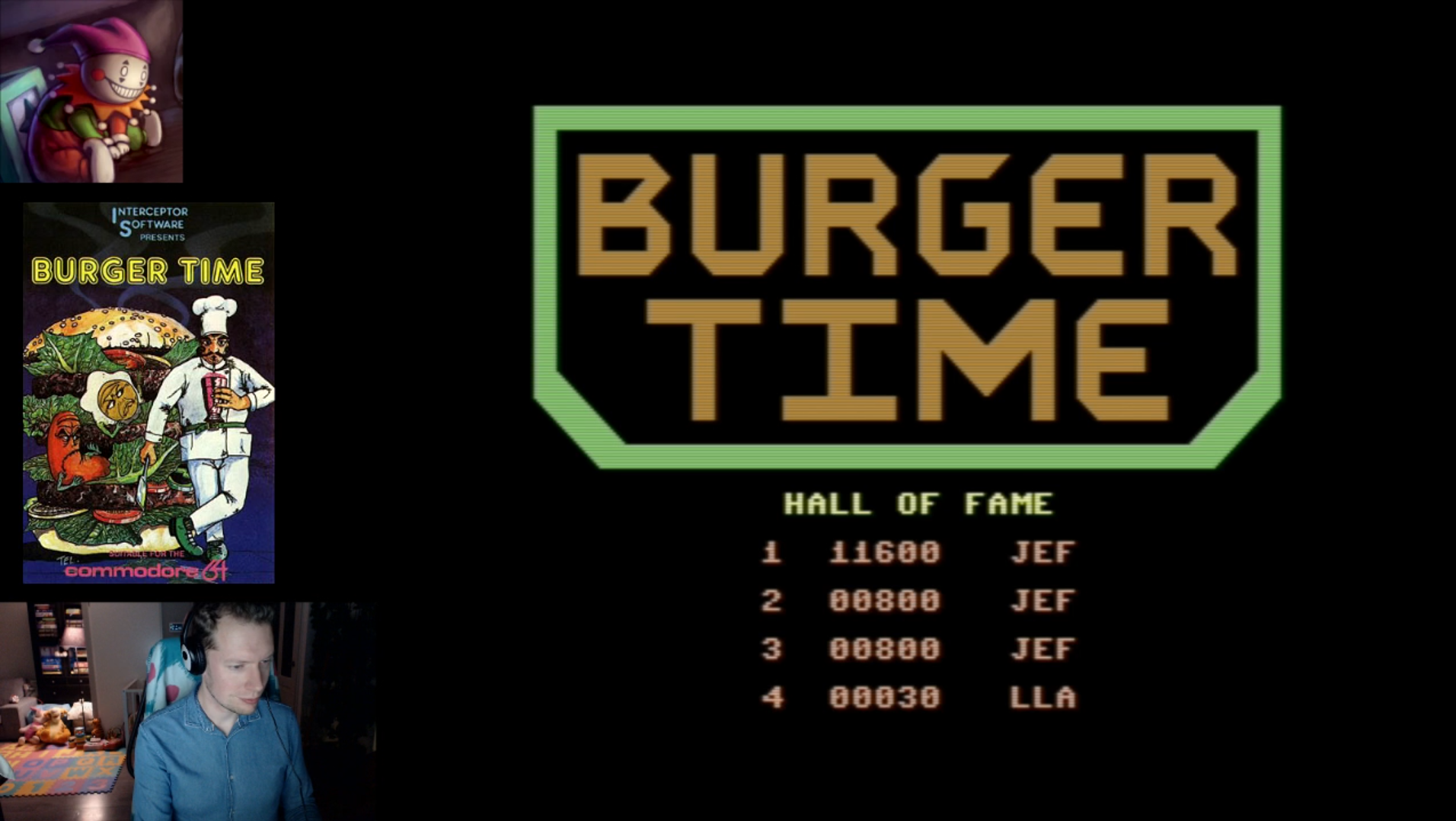 LittleJester: BurgerTime (Commodore 64 Emulated) 11,600 points on 2018-02-14 13:38:43