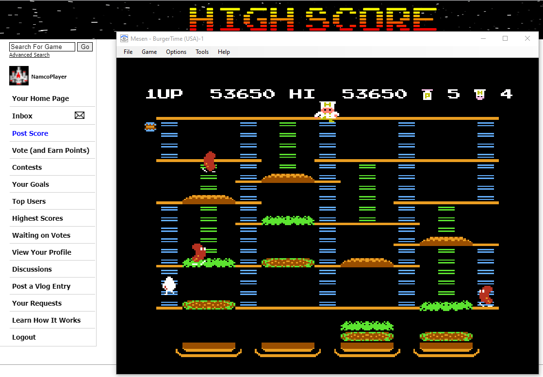 NamcoPlayer: BurgerTime (NES/Famicom Emulated) 53,650 points on 2020-11-17 13:53:07