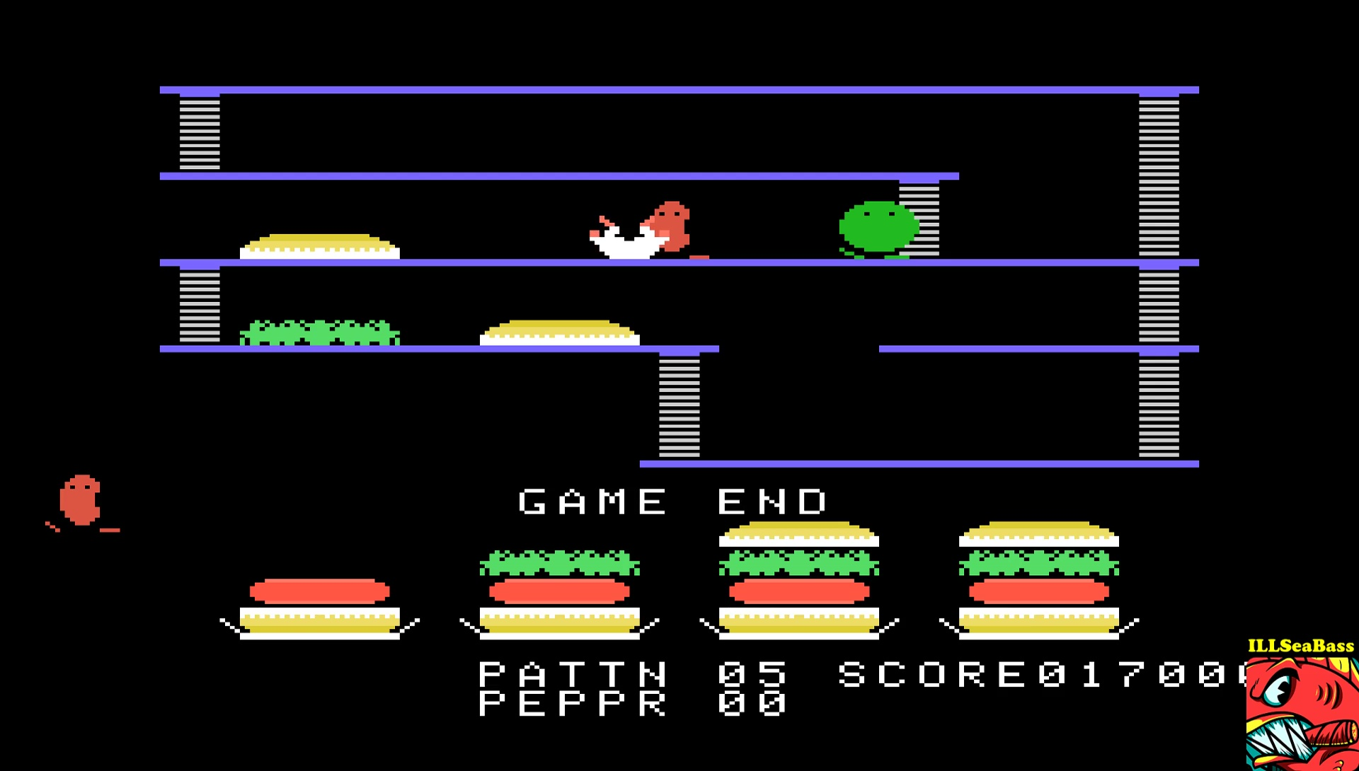 ILLSeaBass: BurgerTime (TI 99/4A Emulated) 17,000 points on 2017-05-03 14:43:52