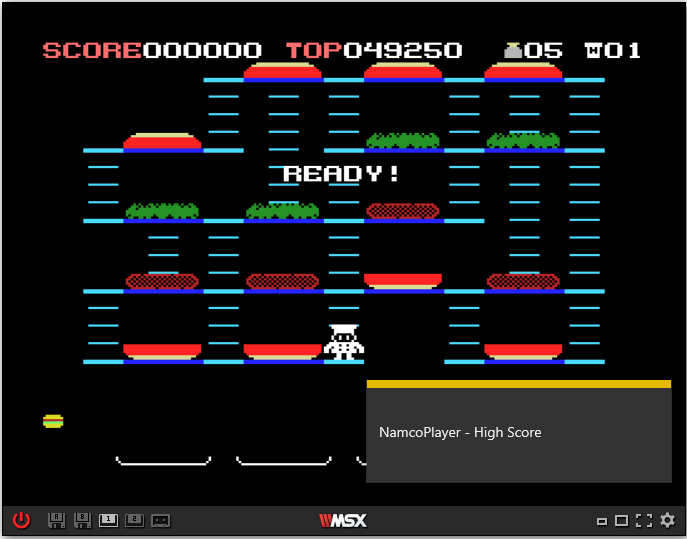 NamcoPlayer: Burgertime (MSX Emulated) 49,250 points on 2020-11-07 16:21:22