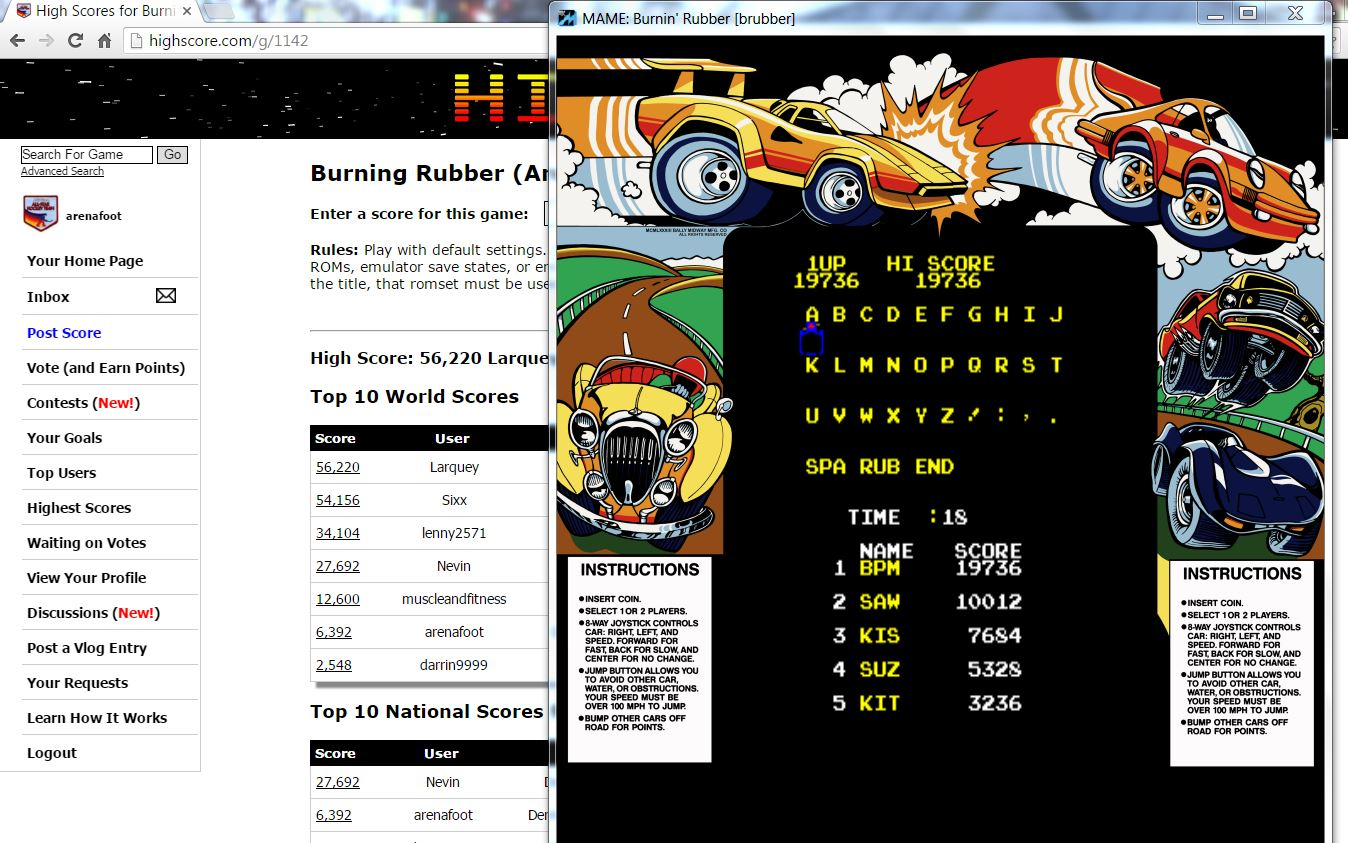 arenafoot: Burning Rubber (Arcade Emulated / M.A.M.E.) 19,736 points on 2016-03-03 23:51:24