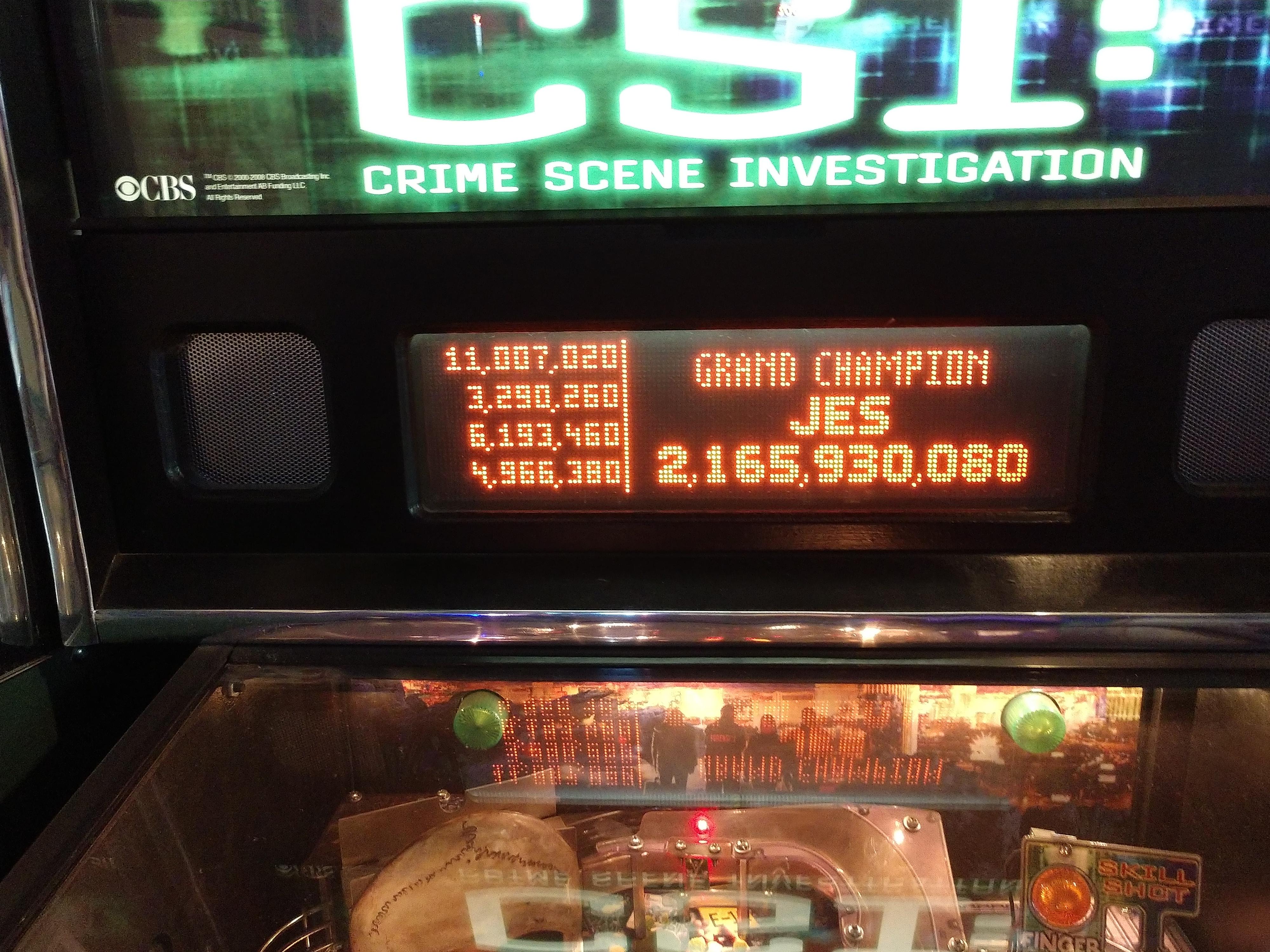 jesse1205: CSI: Crime Scene Investigation (Pinball: 3 Balls) 2,165,930,080 points on 2018-10-09 19:08:46