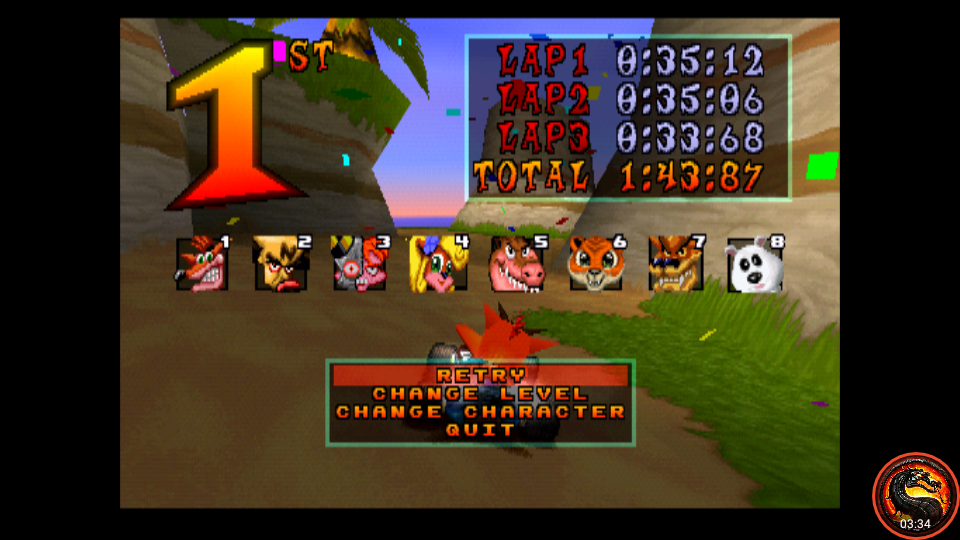 omargeddon: CTR Crash Team Racing: Arcade: Crash Cove: Single: Easy: 3 Laps [Race Time] (Playstation 1 Emulated) 0:01:43.87 points on 2020-10-25 10:44:48