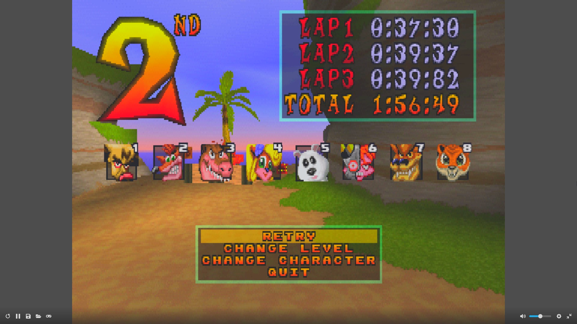 CTR Crash Team Racing: Arcade: Crash Cove: Single: Easy: 3 Laps [Race Time] time of 0:01:56.49