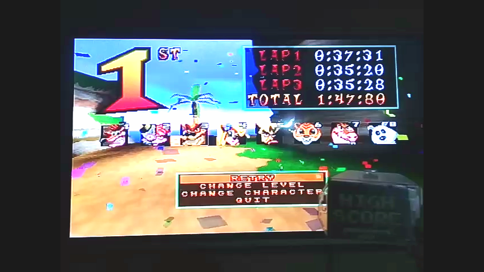 omargeddon: CTR Crash Team Racing: Arcade: Crash Cove: Single: Easy: 3 Laps [Race Time] (Playstation 1) 0:01:47.8 points on 2018-11-23 10:27:01