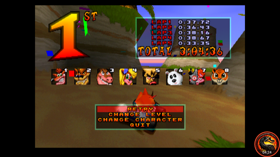 omargeddon: CTR Crash Team Racing: Arcade: Crash Cove: Single: Easy: 5 Laps [Race Time] (Playstation 1 Emulated) 0:03:04.36 points on 2020-10-25 10:46:08