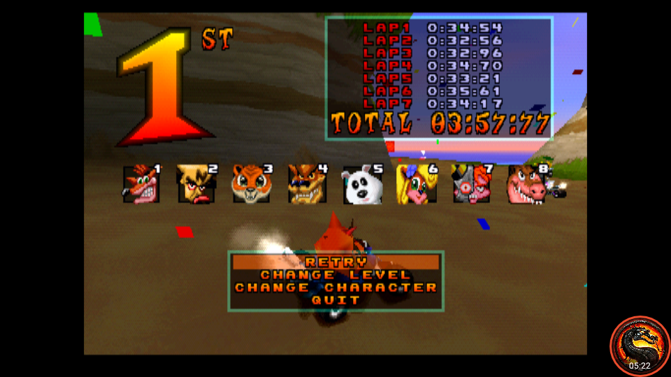 omargeddon: CTR Crash Team Racing: Arcade: Crash Cove: Single: Easy: 7 Laps [Race Time] (Playstation 1 Emulated) 0:03:57.77 points on 2020-10-25 10:47:28