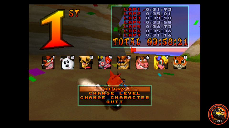 omargeddon: CTR Crash Team Racing: Arcade: Crash Cove: Single: Hard: 7 Laps [Race Time] (Playstation 1 Emulated) 0:03:58.21 points on 2020-10-25 11:43:19