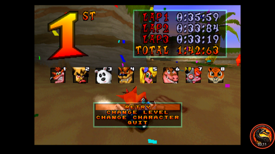omargeddon: CTR Crash Team Racing: Arcade: Crash Cove: Single: Medium: 3 Laps [Race Time] (Playstation 1 Emulated) 0:01:42.63 points on 2020-10-25 11:16:40