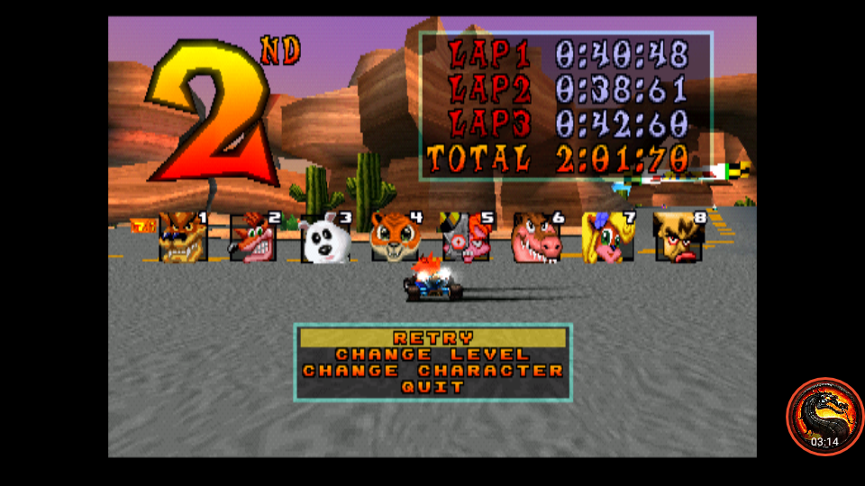 CTR Crash Team Racing: Arcade: Dingo Canyon: Single: Hard [Best Lap] time of 0:00:38.61