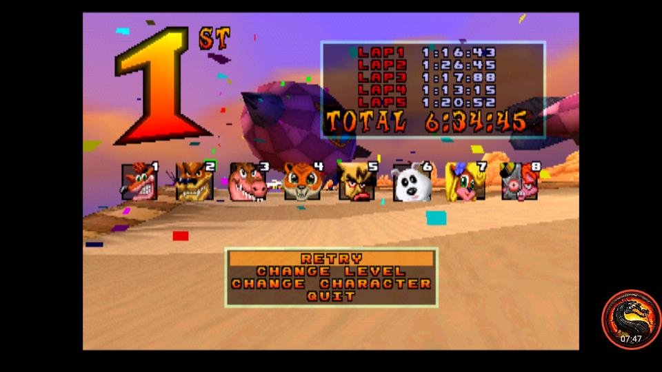 omargeddon: CTR Crash Team Racing: Arcade: Hot Air Skyway: Single: Easy: 5 Laps [Race Time] (Playstation 1 Emulated) 0:06:34.45 points on 2020-12-02 00:37:23