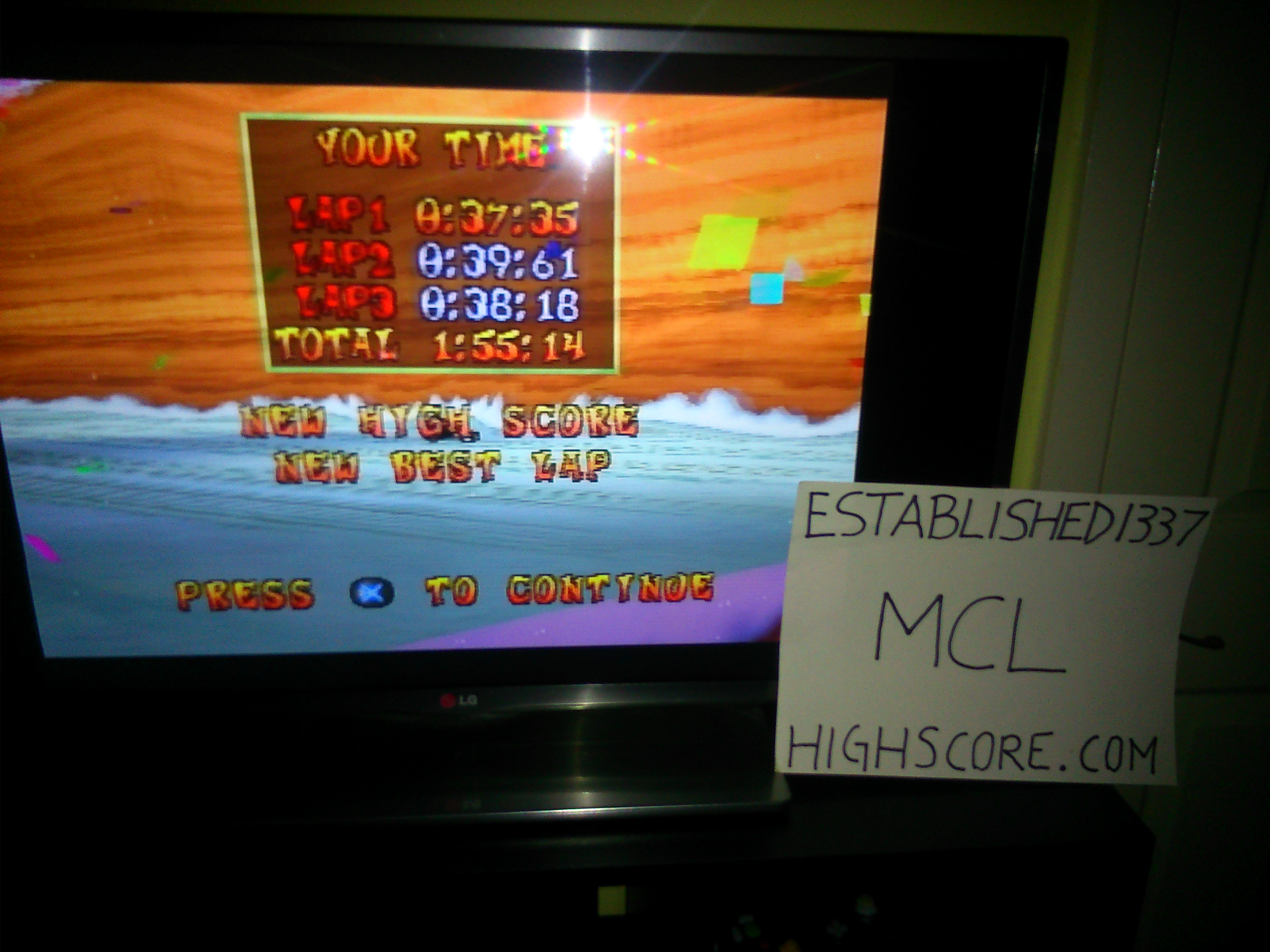 CTR Crash Team Racing: Time Trial: Blizzard Bluff [Race Time] time of 0:01:55.14
