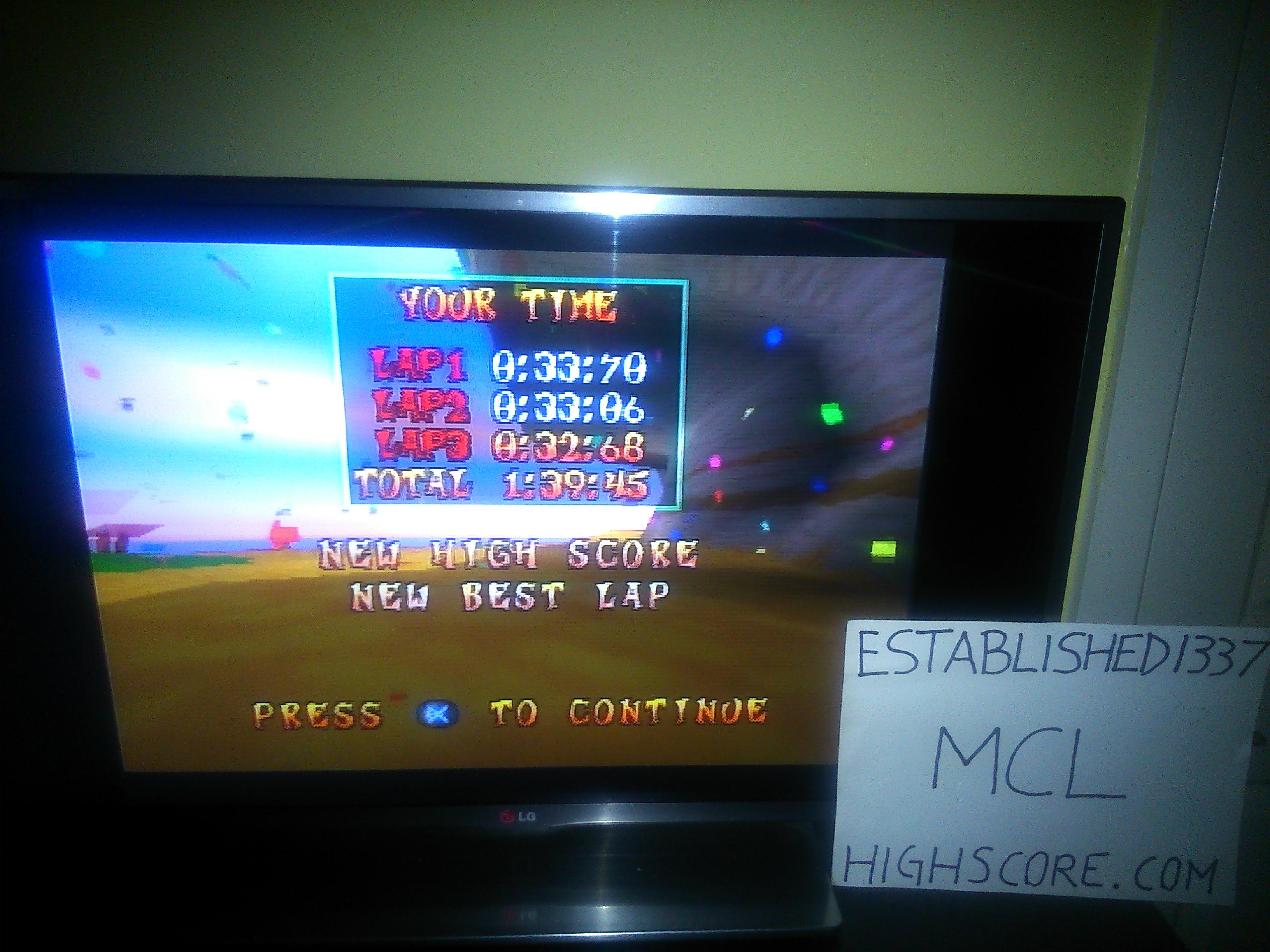 Established1337: CTR Crash Team Racing: Time Trial: Crash Cove [Best Lap] (Playstation 1) 0:00:32.68 points on 2019-02-12 03:13:25