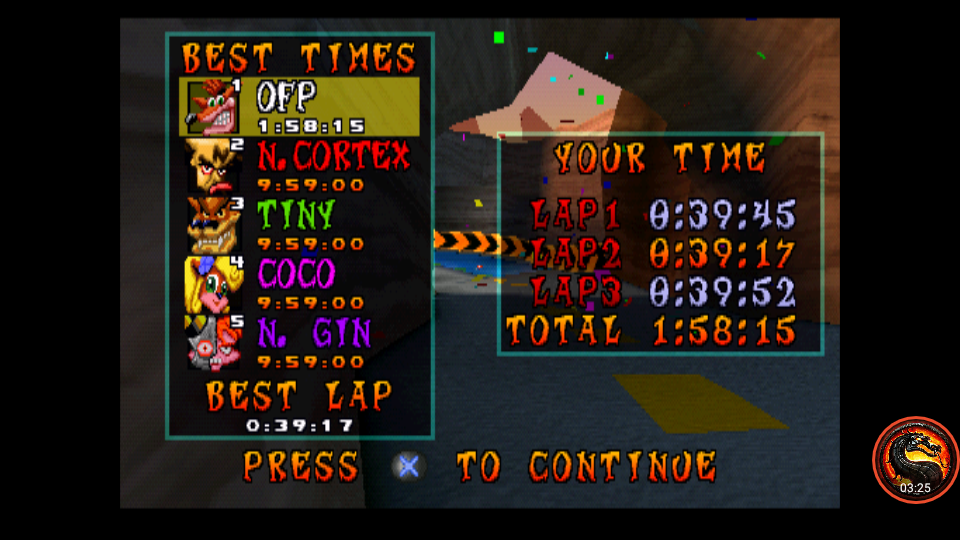 CTR Crash Team Racing: Time Trial: Dingo Canyon [Race Time] time of 0:01:58.15