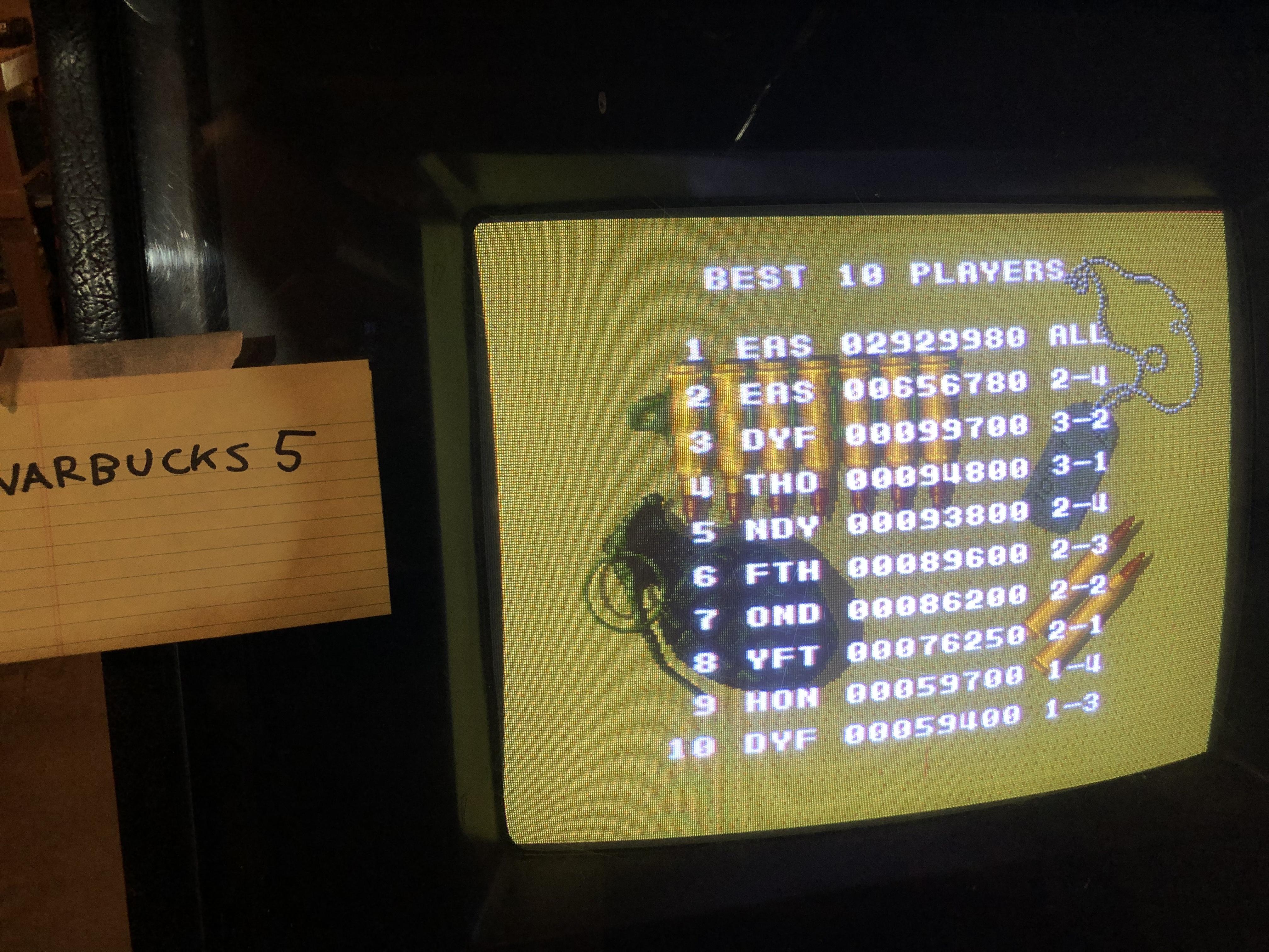 Warbucks5: Cabal (Arcade) 2,929,980 points on 2020-04-18 15:09:18
