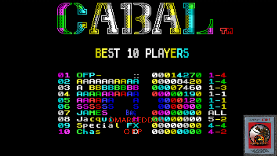 omargeddon: Cabal (ZX Spectrum Emulated) 14,270 points on 2017-06-14 00:38:00