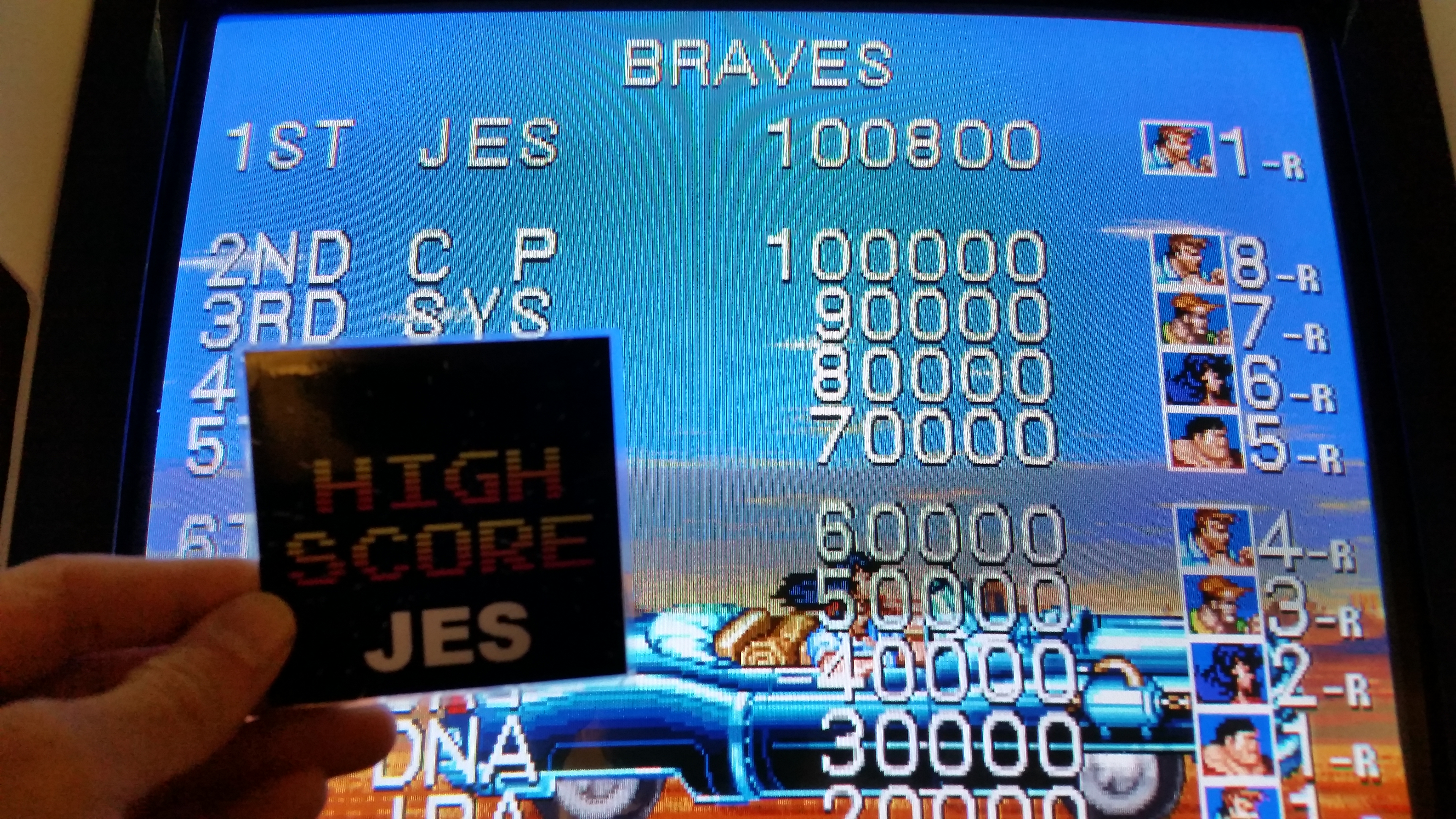 JES: Cadillacs and Dinosaurs [dino] (Arcade Emulated / M.A.M.E.) 100,800 points on 2016-12-13 23:26:07