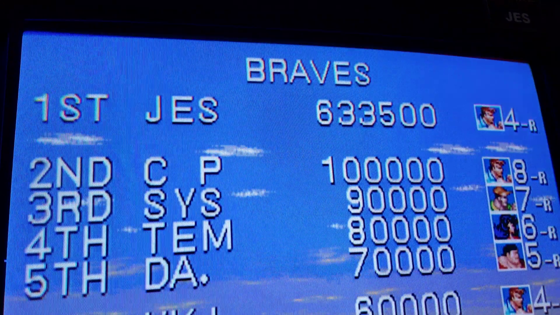 JES: Cadillacs and Dinosaurs [dino] (Arcade Emulated / M.A.M.E.) 633,500 points on 2019-07-07 00:22:00