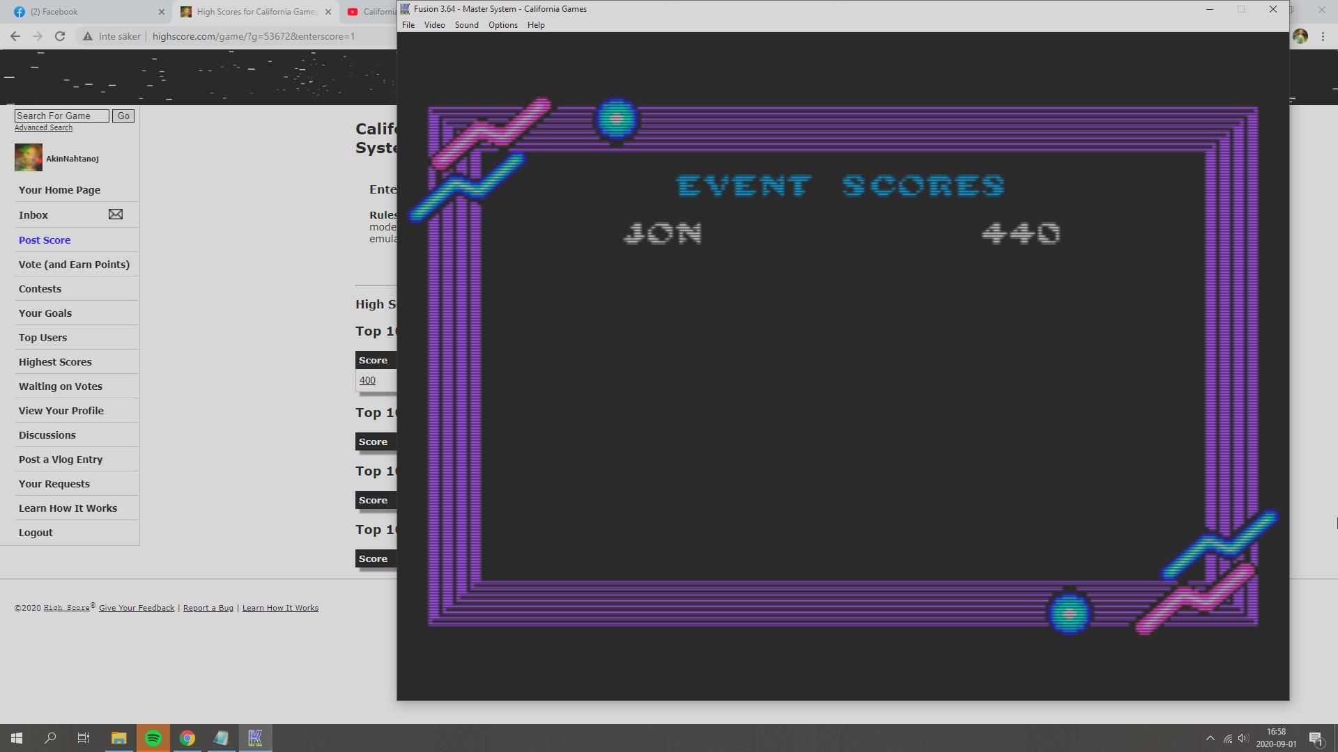 AkinNahtanoj: California Games: Flying Disk (Sega Master System Emulated) 440 points on 2020-09-01 10:02:34