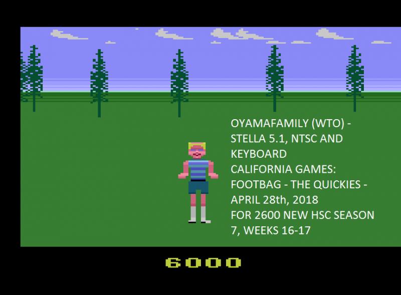 oyamafamily: California Games: Foot Bag (Atari 2600 Emulated) 6,000 points on 2020-04-05 13:33:24