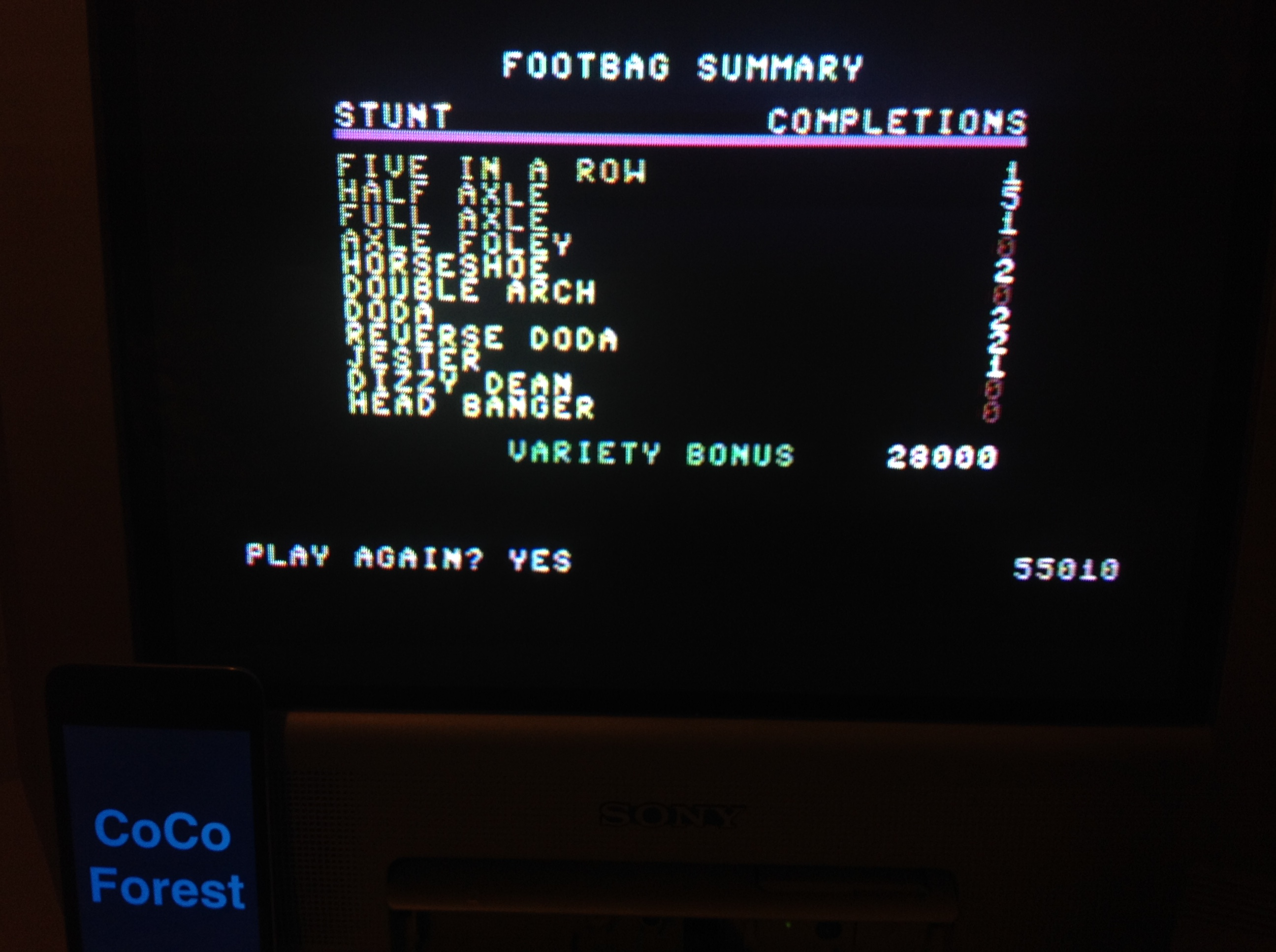 CoCoForest: California Games: Foot Bag (Commodore 64) 55,010 points on 2015-12-07 12:09:13