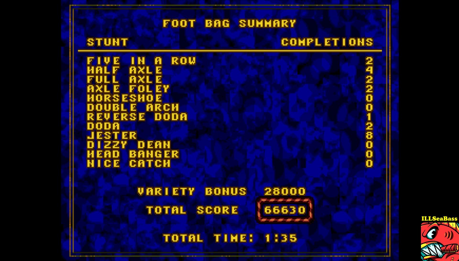 ILLSeaBass: California Games: Foot Bag (Sega Genesis / MegaDrive Emulated) 66,630 points on 2017-03-27 20:49:09