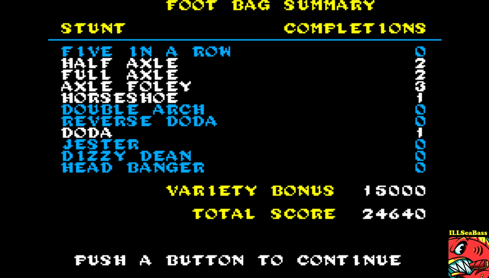 ILLSeaBass: California Games: Foot Bag (Sega Master System Emulated) 24,640 points on 2017-03-27 19:38:44