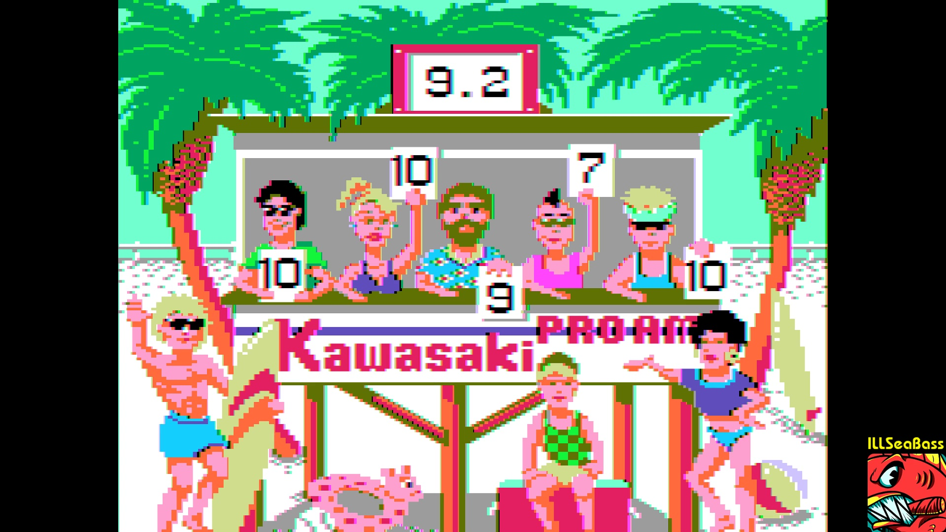 ILLSeaBass: California Games: Surfing [Score * 10] (Apple II Emulated) 92 points on 2018-01-13 09:13:07