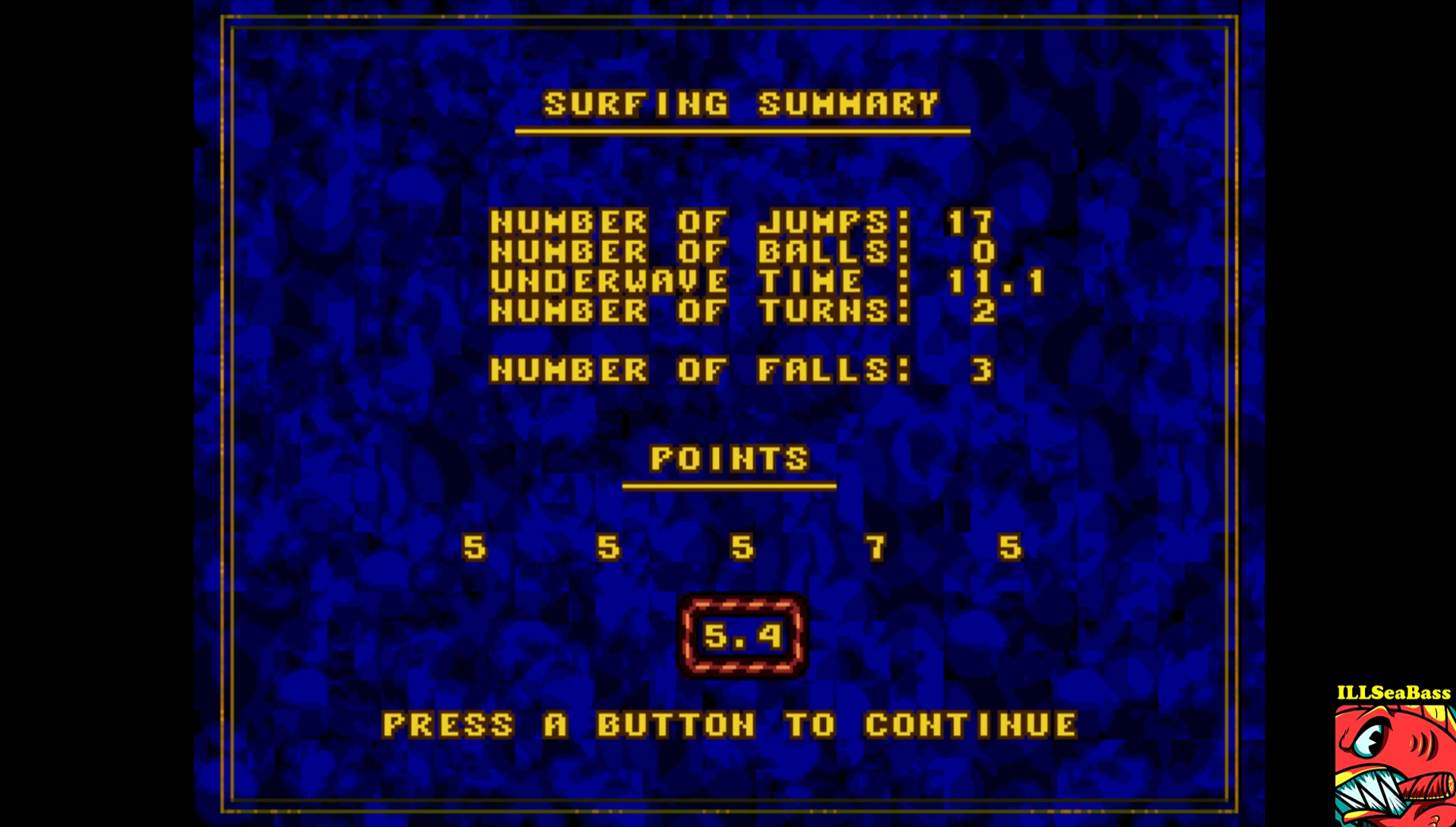 ILLSeaBass: California Games: Surfing (Sega Genesis / MegaDrive Emulated) 54 points on 2017-04-02 19:04:11