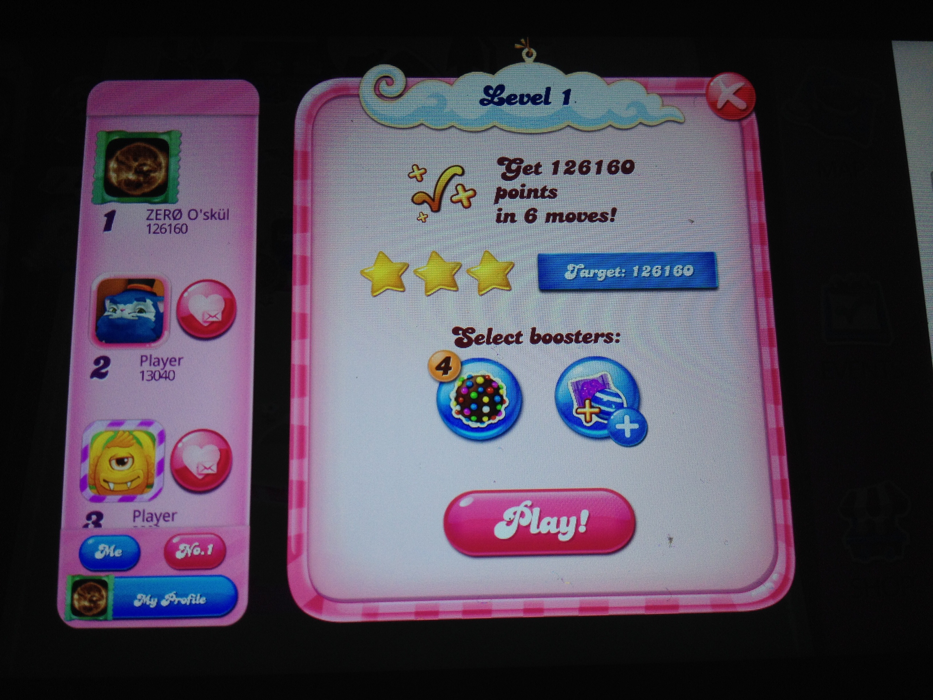 zerooskul: Candy Crush Saga: Level 0001 (Android) 126,160 points on 2020-10-19 23:13:48