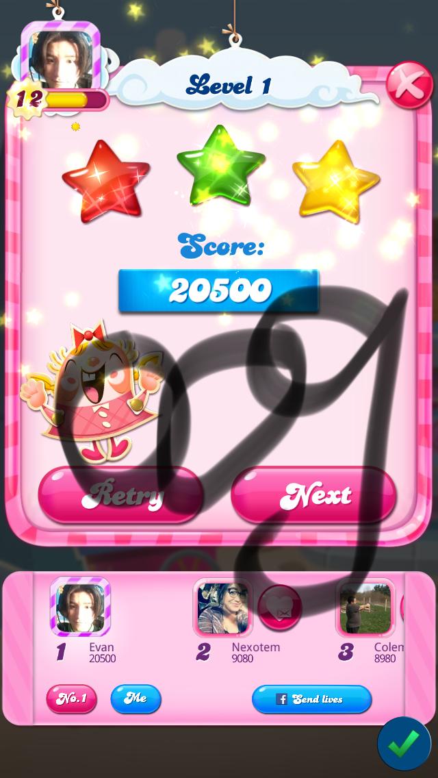Candy Crush Saga: Level 001 20,500 points