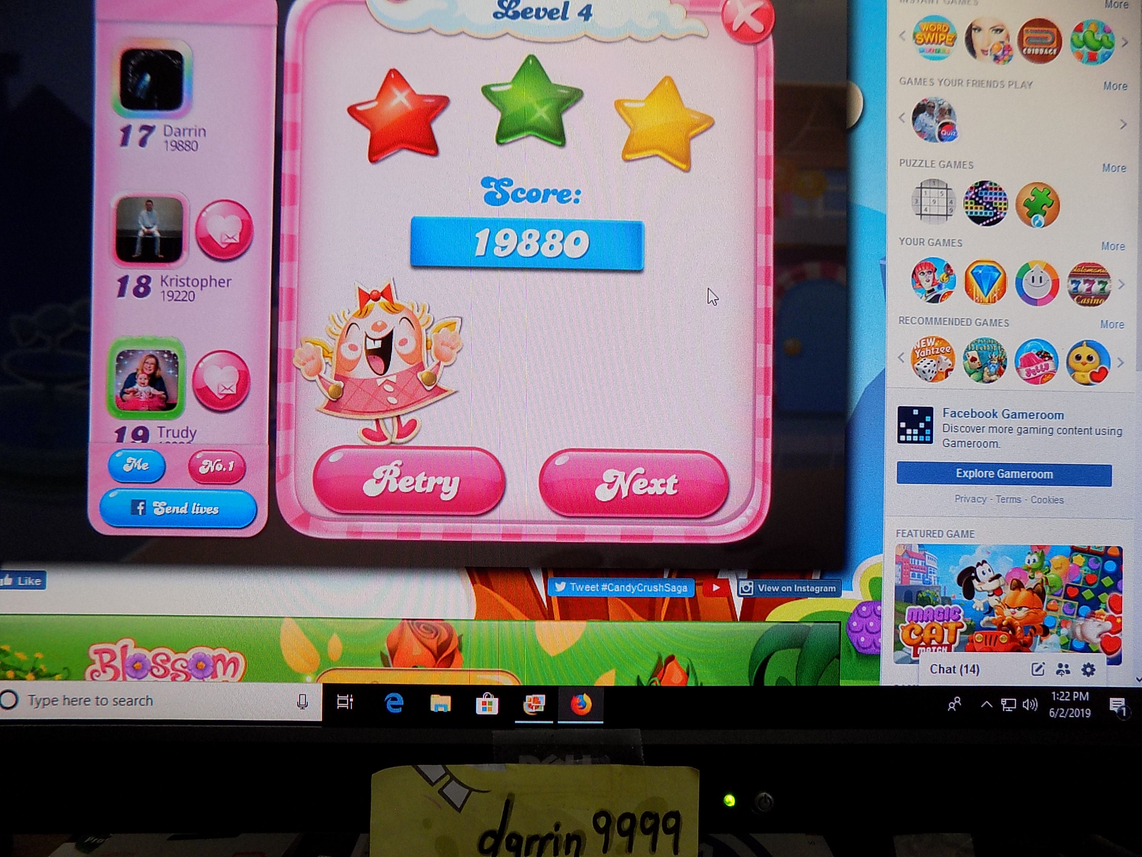 darrin9999: Candy Crush Saga: Level 004 (Web) 19,880 points on 2019-06-02 12:36:49