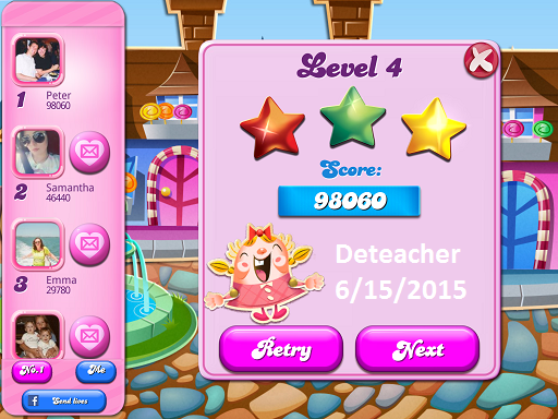 Deteacher: Candy Crush Saga: Level 004 (iOS) 98,060 points on 2015-06-15 20:56:10